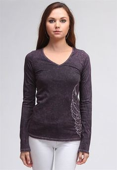 Great looking mineral washed tee with nice long sleeves. Embroidered angel wings stitched on side-shows front and back.