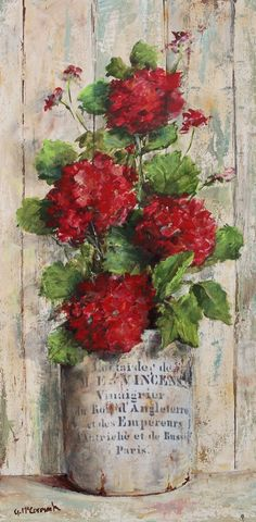 "Gail McCormack Art ""Red Geraniums in a French Mustard Pot"" http://www.gailmccormack.com/item_2441/Original-Painting-on-Panel--Red-Geraniums-in-French-Container.htm"