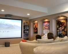 Movie Theater Room Decor Design, Pictures, Remodel, Decor and Ideas – page 4 – Media Room İdeas 2020 Theater Room Decor, Movie Theater Rooms, Home Theater Design, Cinema Room, Theatre Rooms, Media Room Design, Basement Inspiration, Basement Remodeling, Basement Ideas