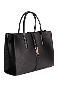 Handbag: Handbag in sturdy, grained imitation leather with crocodile-patterned details, two handles and a detachable shoulder strap. Zip at the top and a strap with a carabiner hook, three inner compartments, one with a zip, and studs on the base. Lined. Size 14x27x36 cm.