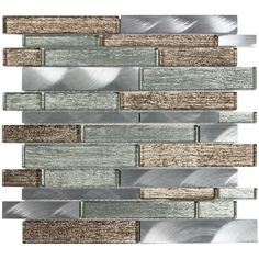 Elida Ceramica Sparkling River x Glass And Metal Linear Mosaic Wall Tile (Common: x Actual: x Glass Tile Backsplash, Mosaic Wall Tiles, Marble Mosaic, Kitchen Backsplash, Mosaic Glass, Backsplash Ideas Bathroom, Bathroom Ideas, Bar Tile, Rustic Backsplash