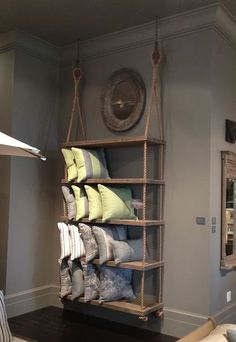 Rope & wood shelves... love this!