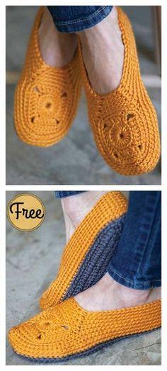 Sweet Granny Square Slippers Free Crochet Pattern #Freepattern #Crochet #Slippers