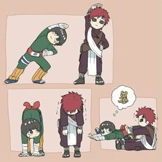 Rock Lee, Gaara, funny, comic, stretching exercises, cute; Naruto