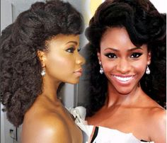 """We really wish we knew exactly how Teyonah Parris' hair stylist created this stunning Emmys look! The actress channeled Hollywood glam and we love how you can see both the big voluminous """"Hollywood… Natural Hair Journey, Natural Hair Care, Natural Hair Styles, Long Hair Styles, Natural Life, African Threading, Girl Hairstyles, Wedding Hairstyles, African Hairstyles"""
