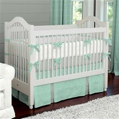 Mint Herringbone Crib Bedding