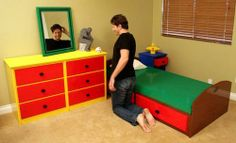 Lego Bedroom...! All furniture build from Lego bricks...!