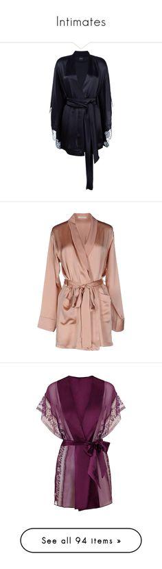 """Intimates"" by elda-1985 ❤ liked on Polyvore featuring intimates, robes, robe, black, short kimono, kimono bathrobe, short dressing gown, kimono dressing gown, robe kimono and dresses"