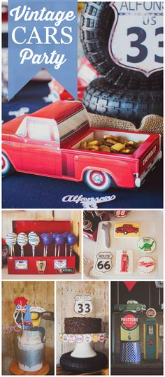 Check out this vintage garage party! Amazing details! See more party planning ideas at CatchMyParty.com!