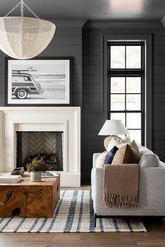 Bold & Coastal Living Room – Studio McGee – Home Design Collections Formal Living Rooms, Home Living Room, Living Room Designs, Living Room Decor, Living Spaces, Dark Walls Living Room, Studio Mcgee, Home Design, Home Interior Design