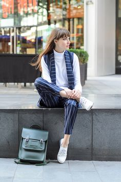 Polo-neck and pinstripes
