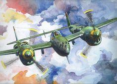 P-38.Watercolor.Dmitro Vorobienko.