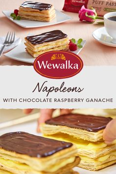 Sweeten up springtime celebrations, like Mother's Day and Memorial Day, with Napoleons! This French-inspired dessert alternates layers of puff pastry and cream, and is topped with a delectable chocolate raspberry ganache. The end result is impressive, but this pastry could not be easier to make!
