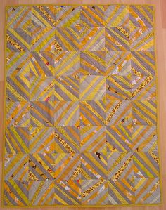 Wonky string quilt in Mustard, Gold, Tan, and Putty by blempgorf
