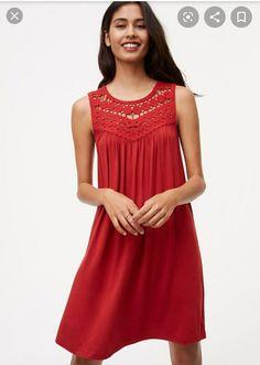 Loft Petite Crochet Yoke Swing Dress on Mercari Abaya Fashion, Red Fashion, Curvy Fashion, Fashion Outfits, Crochet Yoke, Crochet Blouse, Blouse Dress, Knit Dress, Beautiful Dresses For Women
