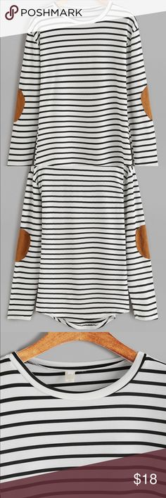 Striped shirt with elbow patches Black and white long sleeve shirt with brown velvet elbow patches. Brand new! NEVER BEEN WORN!! Tops Tees - Long Sleeve