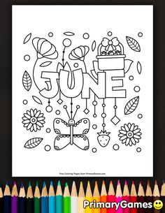 Free printable Summer Coloring Pages eBook for use in your classroom or home from PrimaryGames. Print and color this June coloring page.