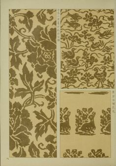 "Textile designs from the book, ""Choyokaku kansho (1883)."""