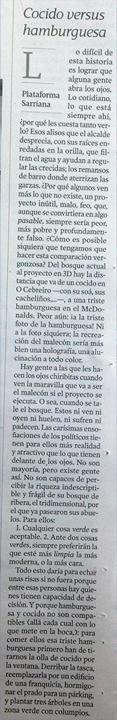 La VOz de Galicia. Mércores 21 de marzo. Cocido versus hamburguesa.