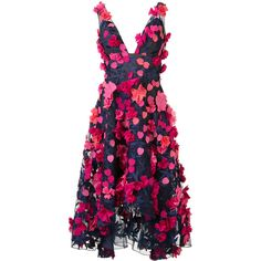 Marchesa Notte floral applique V-neck dress (5.320 BRL) ❤ liked on Polyvore featuring dresses, marchesa, blue, v neckline dress, floral applique dress, flower print dress, floral day dress and blue v neck dress