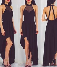 Sexy Black Chiffon Halter Neck Prom Dress 2017 For Party Homecoming Dress on Luulla