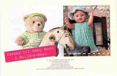 Album Archive - Sødt strik til Build-a-Bear og Baby Born Build A Bear, Baby Born, Knitted Dolls, Crochet Hats, Teddy Bear, Layout, Album, Knitting, Toys