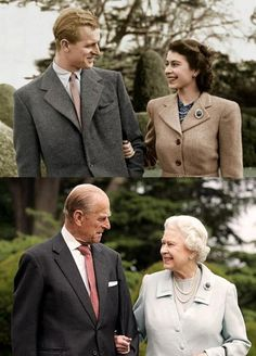 Queen Elizabeth II and Prince Philip.  The only difference between these photos is 6 decades of very public marriage.