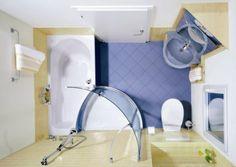 Distribución plano planta de baño pequeño 007