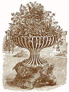Vintage Victorian Clip Art - Garden Urn with Flowers - The Graphics Fairy