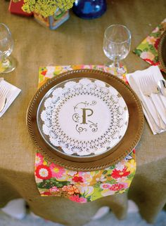 Paper doily under clear plate Colorful Lakeside Wedding by Melissa Schollaert, Part 2 - Southern Weddings Magazine