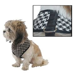 Cute dog harness  Anima Houndstooth Harness - Black