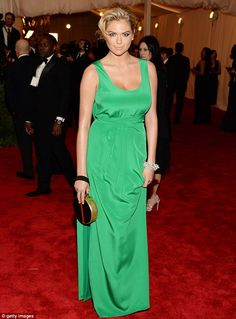 Near fashion fail: Kate Upton missed the mark in her green gown at the Met Ball in New York on Monday night