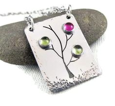 Mothers Necklace - Custom Mother's Birthstone Family Tree Necklace in Sterling Silver - 3 Birthstones. $79.00, via Etsy.