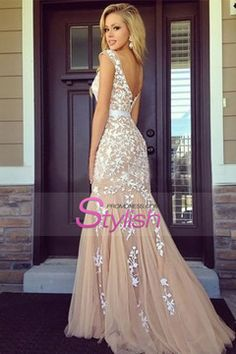 Bicolor Prom Dresses Bateau Sheath Low Back Sweep/Brush Train Tulle With Ivory Applique $199.99 STPC3AHGAZ - StylishPromDress.com