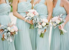 Gorgeous dresses + colour palette + bouquets!! Long blue bridesmaids dresses | www.ktmerry.com