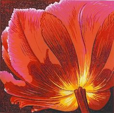 Tulip, Crimsom   Limited edtion reduction linocut   Mark A Pearce