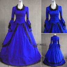 Venta caliente Royal Blue manga larga Ruffles Renacimiento gótico victoriano vestidos de Halloween del Victorian vestidos de bola / vestido de fiesta(China (Mainland))