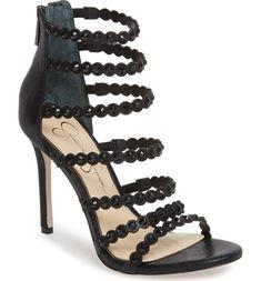 Jezalynn Embellished Sandal,                         Main,                         color, Black Embellished Sandals, Shoe Show, Gladiator Sandals, Open Toe, Studs, Product Launch, Nordstrom, Heels, Leather
