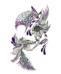 Skull, flowers, hummingbird, modern