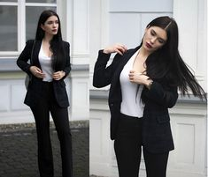 More looks by Justyna Lis: http://lb.nu/justynalis  #chic #formal #street #whitetop #top #bellbottoms #bell #pants #blackpants