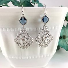 Silver Filigree Sapphire Chandelier Earrings by BlingNiks