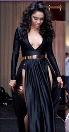 235f697e827d8 Sexy women s Deep V Neck Long Casual Maxi Tee Shirt Double Split Dress High  Slit