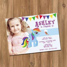 My Cute Pony My Little Pony Rainbow Dash Inspired Birthday Party Invitation with Photo (Digital - DIY)