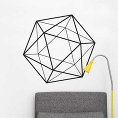 The Norrmalm Geometric Shape Wall Decal in Black from ADzif gives you a feel. This wall art of a line drawing of an icosahedron would make a great gift for a math lover. Large Wall Decals, Flower Wall Decals, Removable Wall Decals, Vinyl Wall Decals, Wall Stickers, Geometric Wall Art, Geometric Shapes, Wall Murals, Wall Art Decor