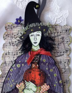 HalloweenWitch Paper Doll Mixed Media Art Tag by ParisPluie, $17.00 With Character Construction stamps