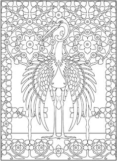 Free coloring page coloring-adult-majestic-heron. Coloring picture of a majestic héron, with a frame reminding Art Nouveau style