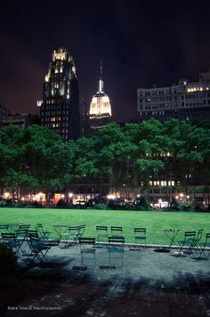 """Bryant Park - """"Just behind the New York Public Library, this park is a welcome respite from the endless high-rises and crushing crowds of Midtown, a 4-acre lawn surrounded by London plane tree–shaded promenades (like the Tuilleries Gardens in Paris), benches, and statuary.""""  Excerpt From: Pauline Frommer. """"Frommer's EasyGuide to New York City 2014."""" iBooks. https://itun.es/us/vODHR.l"""