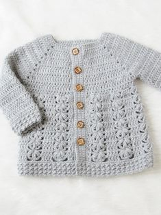 Ravelry: Evelyn Baby Sweater pattern by CrochetDreamz pullover baby Evelyn Baby Sweater Crochet Baby Cardigan Free Pattern, Crochet Baby Jacket, Gilet Crochet, Crochet Baby Sweaters, Baby Sweater Patterns, Baby Girl Sweaters, Baby Clothes Patterns, Crochet Baby Clothes, Baby Knitting