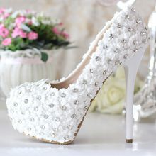 White lace ultra high heels wedding shoes bridal shoes crystal shoes formal dress shoes women pumps platform shoes (China (Mainland))