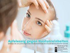 Der Biotulin Schönheitstipp: Apfelessig hat positive Eigenschaften um auf natürliche Weise unreinheiten der Haut wie Mitesse und Pickel zu entfernen